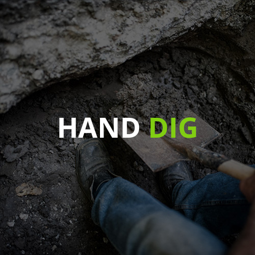 Hand digging excavation